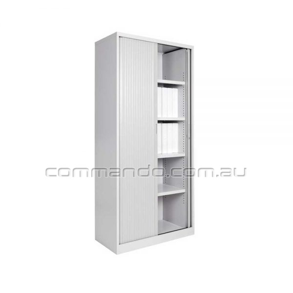 Tambour Sliding Door Storage Cabinet